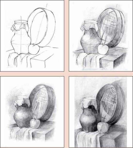 технике графика поэтапно рисунок в